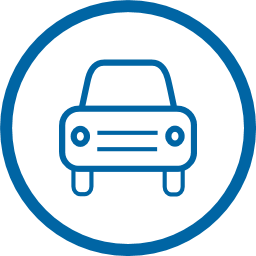 Blue Circle Icon with car in the middle