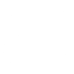 White Circle Icon with house in the middle