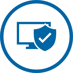 Blue Circle Icon with computer and shield with check mark in the middle